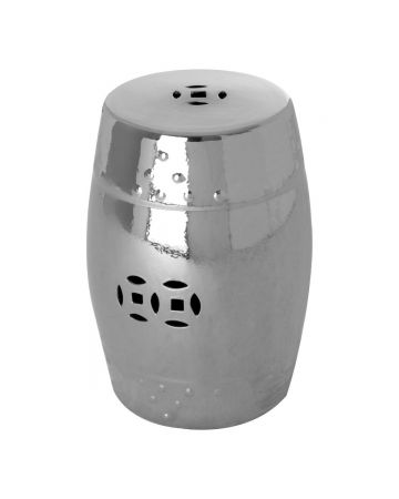 Compliments Ceramic Stool - Silver