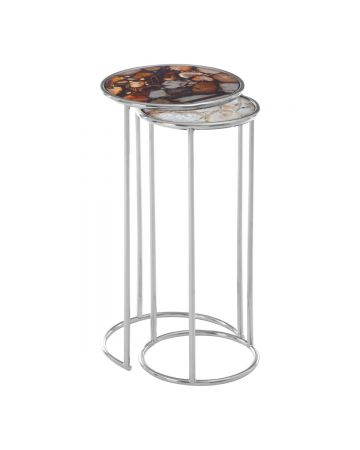 Pietra Pair of Agate Nesting Tables - Brown & Natural