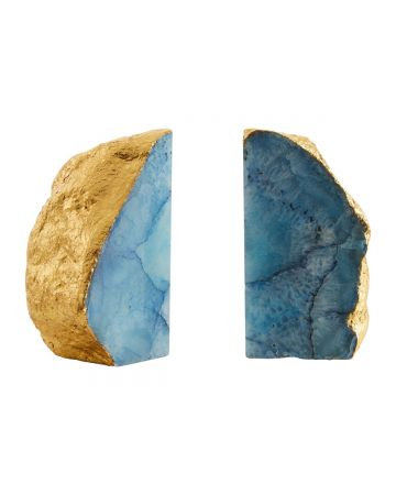Pietra Agate Bookends - Blue