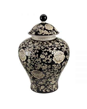 Mandalay Large Temple Jar - Black
