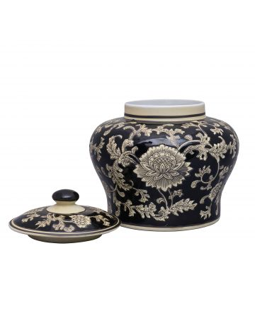 Mandalay Squat Ginger Jar - Black