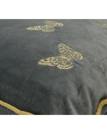 Butterfly Embroidered Cushion - Gold on Grey