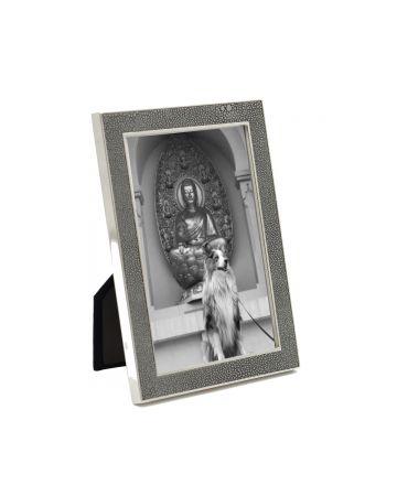 Grey Faux Shagreen & Nickel Photo Frame - 4x6