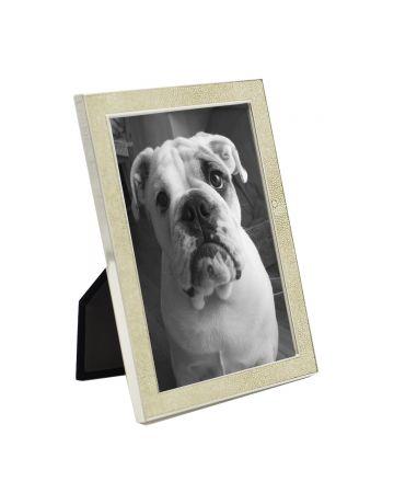Cream Faux Shagreen & Nickel Frame - 5x7