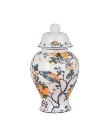 Golden Peonies Small Temple Jar