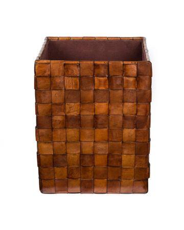Burton Tan Leather Woven Bin
