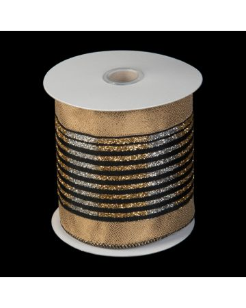 Ribbon - Black & Narrow Gold Stripe