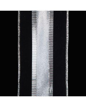Ribbon-Blk Velvet &Silv Stripe