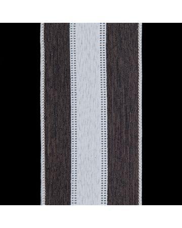 Ribbon - Black & White Linen