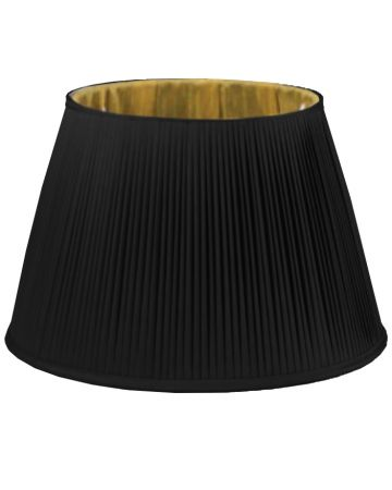 Black & Gold Silk Pleated Shade - 20""