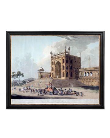 Eastern Gate of the Jummah Musjid at Delhi - Thomas Daniell Large Framed Print