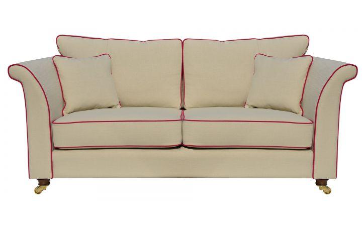 Gatsby Medium Sofa - Koki' Chino, Piped In 'Koki' Fuchsia